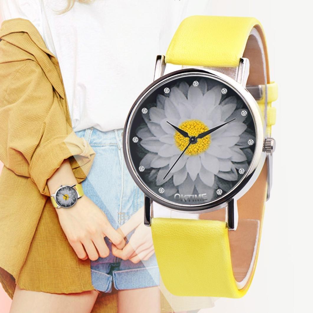 Relojes Unisexo,❤LMMVP❤Mujeres hombres unisex de lona casual de cuero de cuarzo analógico reloj (F): Amazon.es: Relojes