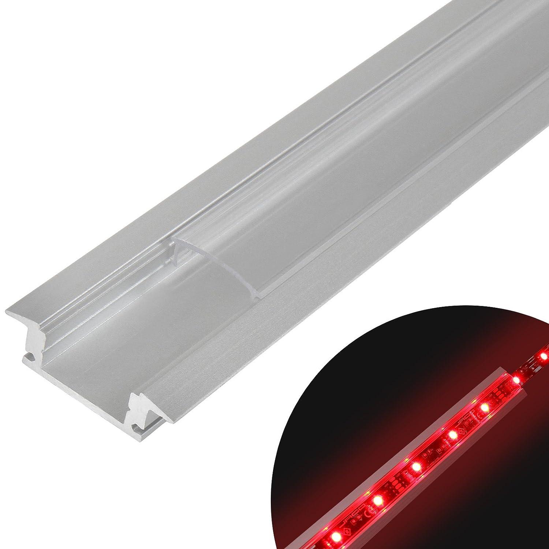 Jago - Perfil de aluminio – LED (para pared, vitrinas, escalera y otro) – modelo de tamaño 25 / 8 mm de color transparente escalera y otro) - modelo de tamaño 25 / 8 mm de color transparente