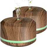 Diffusers for Essential Oil 2 Pack, Mogomiten 450ML Wood Grain Ultrasonic Aromatherapy Diffuser Large Capacity with 8 Color LED Light 4 Timer Settings