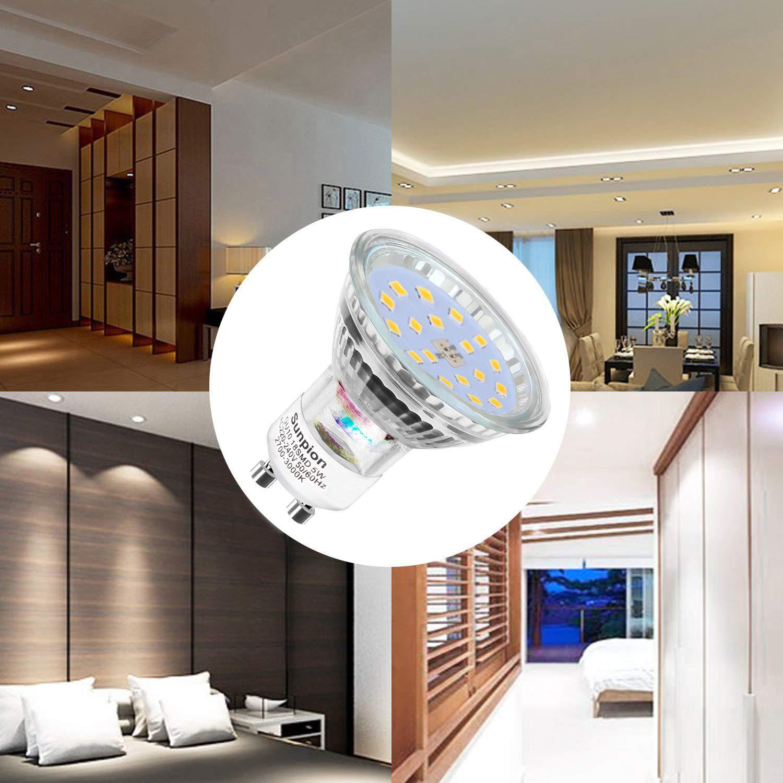 5W /équivalent 60W 600lm Blanc Chaud 2700K Lot de 10 Ampoules LED GU10 Ampoules LED Spot 120/° Larges Faisceaux