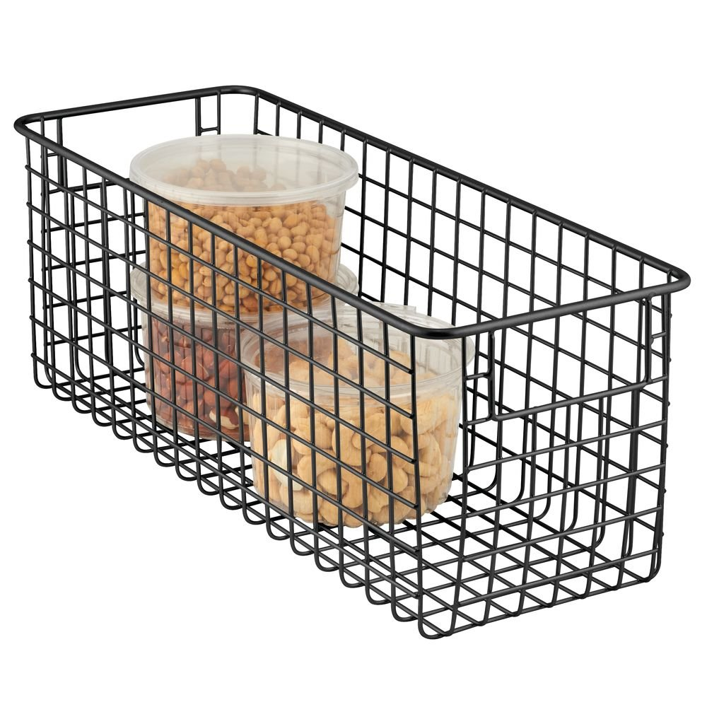 "mDesign Farmhouse Decor Metal Wire Food Storage Organizer Bin Basket with Handles for Kitchen Cabinets, Pantry, Bathroom, Laundry Room, Closets, Garage - 16"" x 6"" x 6"" - Matte Black"