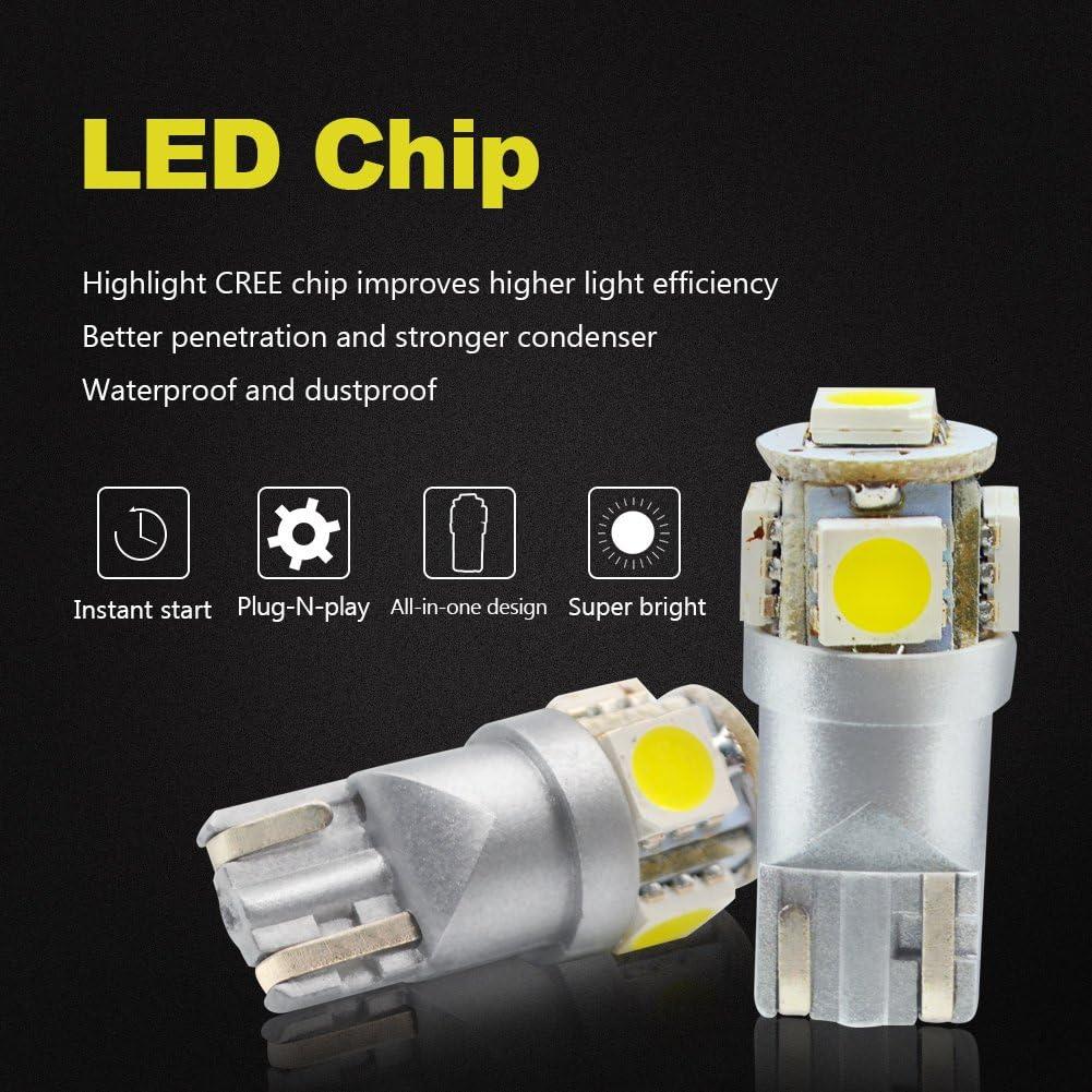 20X T10 5050 Chip LED License Plate Interior SMD Light Bulbs 6000K White