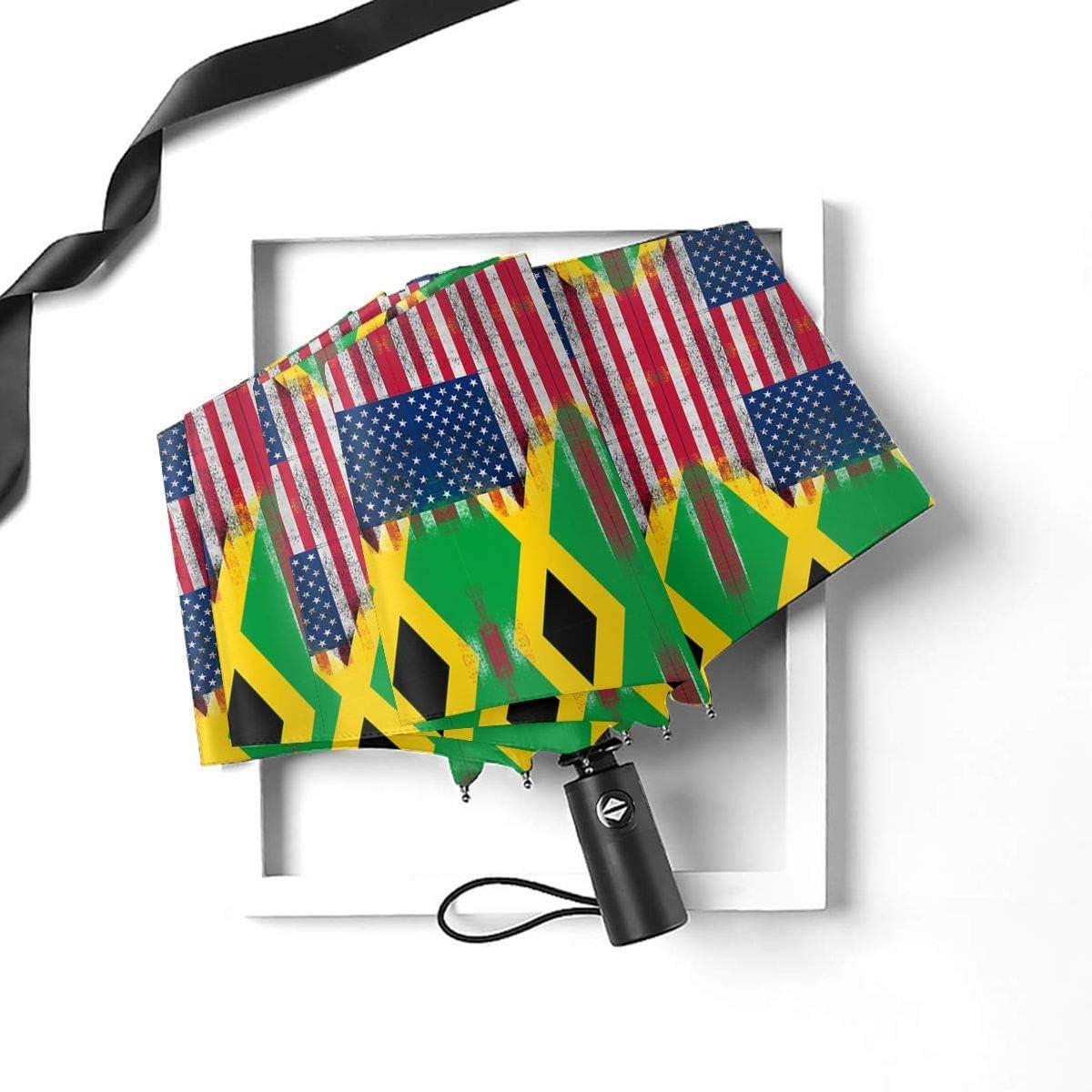 Jamaican American Flag Automatic Folding Umbrella Sunshade Tri-fold Rain Umbrella