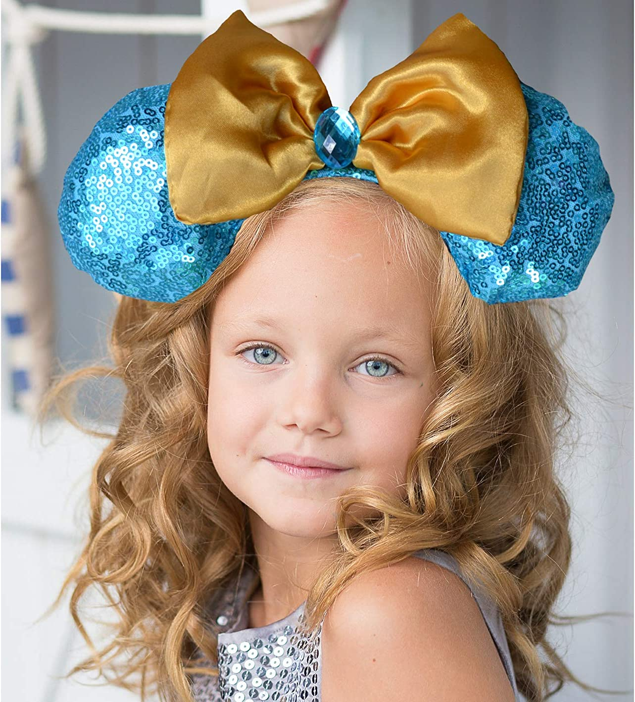 Charmed Creations Princess Inspired Bow Headband Mickey//Minnie Mouse Ears One Size Fits All Princess Party