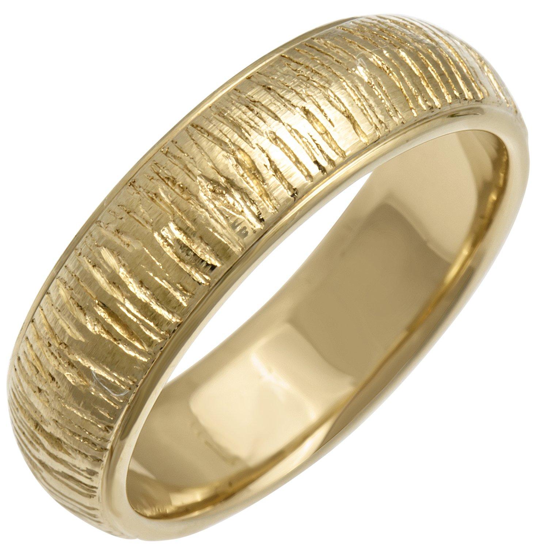14K Yellow Gold Center Stripe Men's Stone Finish Comfort Fit Wedding Band (6mm) Size-16.5c1