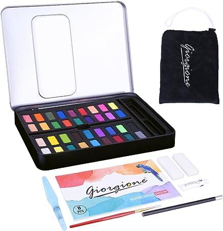 LegendTech - Juego de 36 pinturas de acuarela de colores surtidos con estuche de lata no tóxico