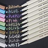 PuTwo Metallic Markers, 10 Assorted Colors Water Proof Metallic Paint Pen Metalic Marker Pens, Fine Tip Metallic Calligraphy