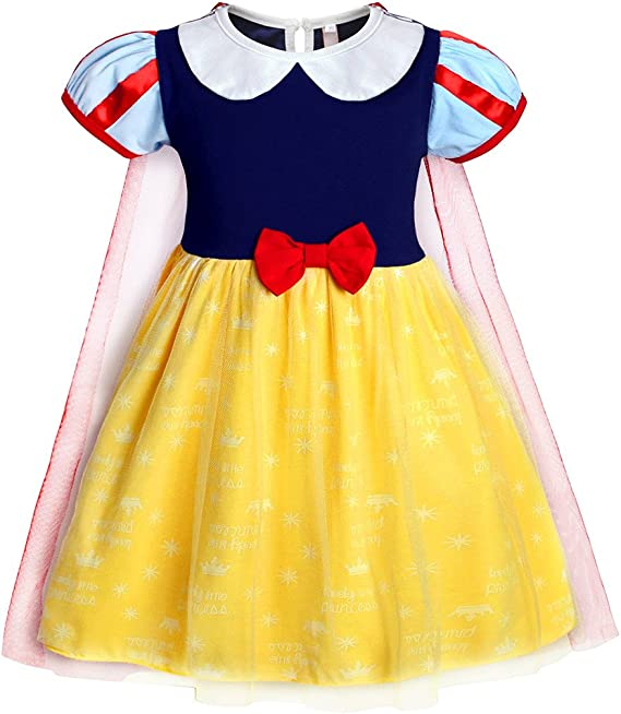 AmzBarley Blancanieve Disfraz Vestido Princesa Blancanieves Niña ...