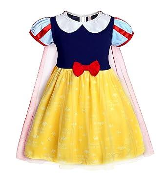 cbba2060e Amazon.com: Jurebecia Girls Snow White Costume Dress Kids Princess Fancy  Dress Halloween Party Fancy Dress up 1-10 Years: Clothing