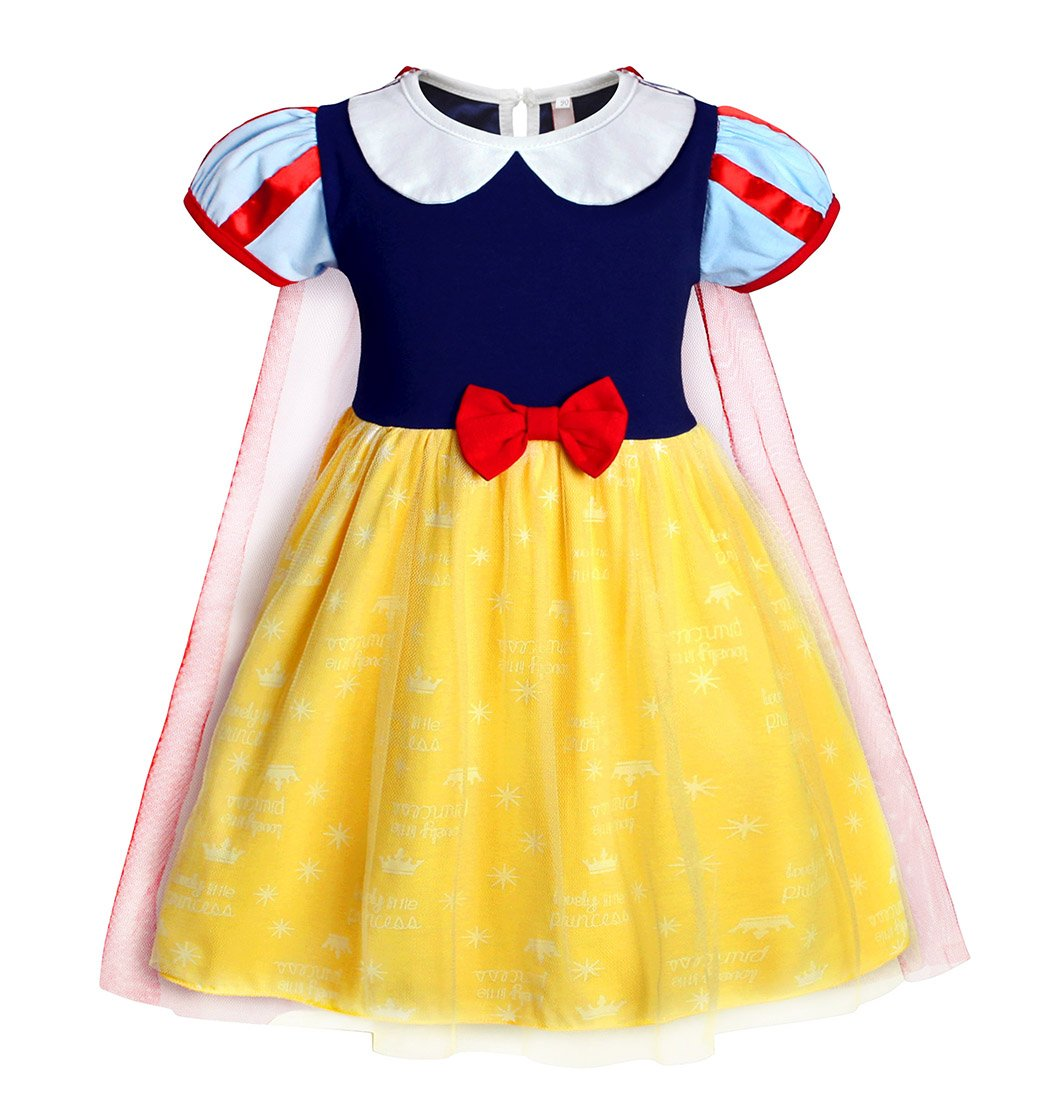 Jurebecia Princess Snow White Dress Toddler Girls Nightgowns Birthday Halloween Party Costumes with Cape Size 3T by Jurebecia (Image #2)