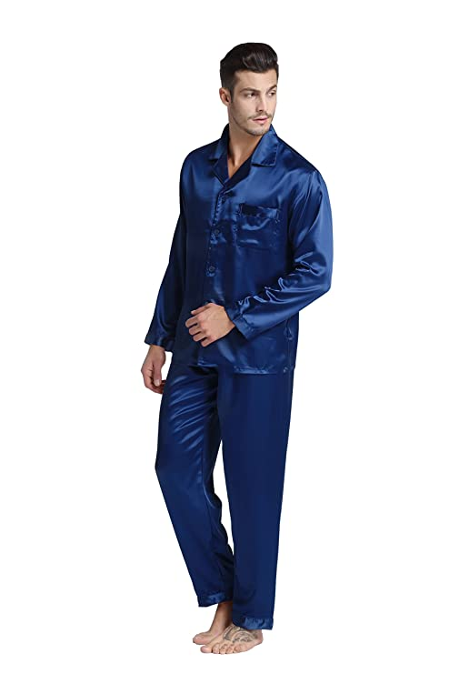 TONY & CANDICE Para Hombre Del Pijama De Satén Conjunto: Amazon.es: Ropa y accesorios