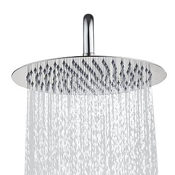 Derpras Round Rain Shower Head 304 Stainless Steel Ultra Thin High