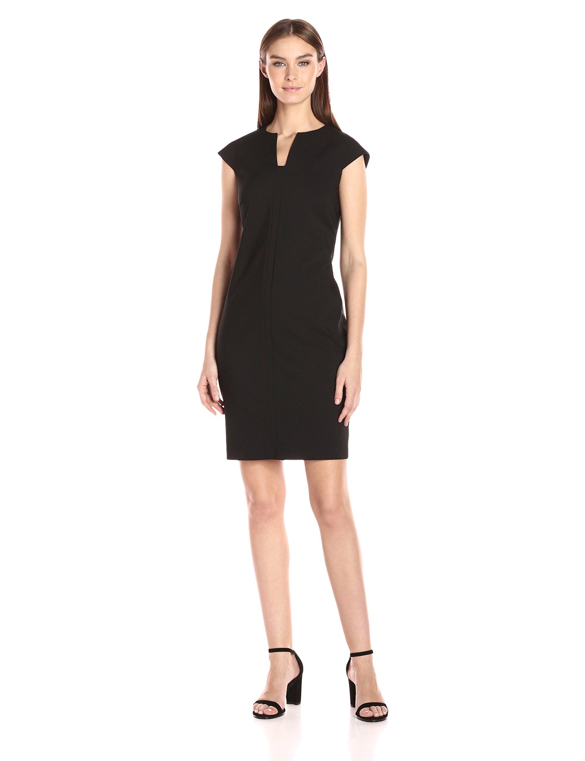Calvin Klein Women's Compression Fabric Cap Sleeve Sheath Dress, Black, 6