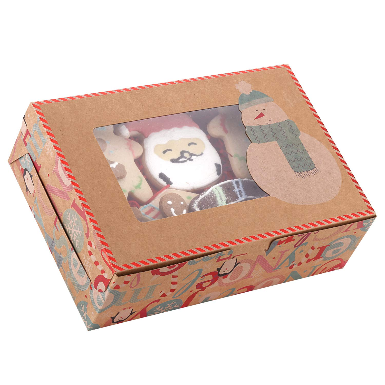 20-Pack Christmas Cookie Gift Boxes with Window, 8.7'' x 6'' x 2.8'', Brown Kraft Bakery Boxes, Christmas Treat Boxes for Doughnut and Cookie, Holiday Design (Snowman)