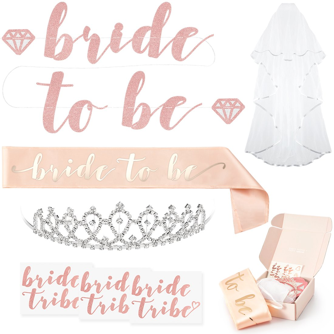 xo, Fetti Rose Gold Pink Bachelorette Party Decorations Kit - Bridal Shower Supplies | Bride to Be Sash, Rhinestone Tiara, Pre-Strung Banner, Veil + Bride Tribe Flash Tattoos by xo, Fetti