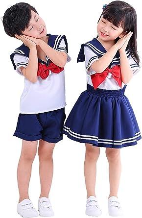 Amazon.com: H&ZY Anime Kids Girl's Boy Navy School Uniform Sailor Costume  Dress Suit: Clothing