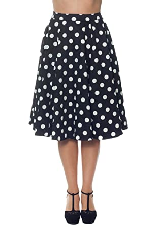 Ixia Classic Retro Vintage Style Polka Dot High Waist A-Line Skirt ...