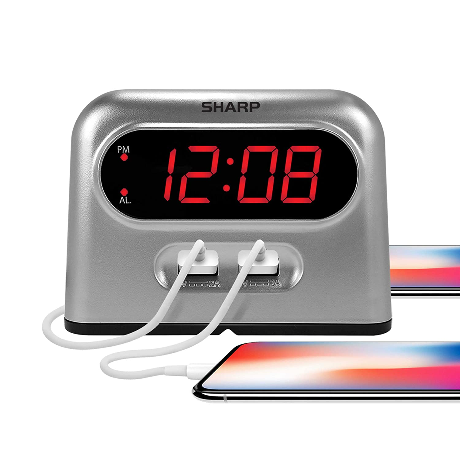 Sharp Digital Alarm Clock with 2 Ultra Fast Charging USB Charge Ports Twice as Fast as Conventional USB Chargers