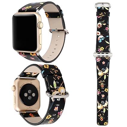 ZXK Co, de banda para Apple Watch 38 mm/42 mm suave piel sintética sueño espacio/Aves Imprimir ...