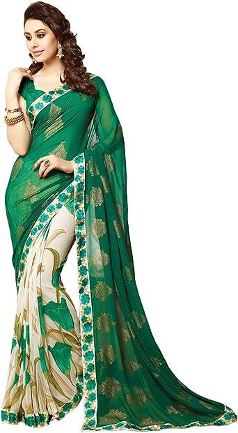 Green Chiffon Printed Bollywood Saree Party Wear Indian Pakistani Designer Sari