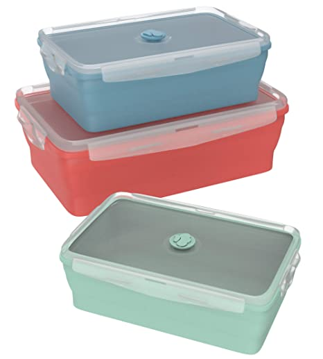 Wamery Recipiente de Silicona Plegable - Juego de 3 Recipientes para Microondas con Tapas de Plastico Hermticas Libres de Bpa - Fiambreras de Silicona ...