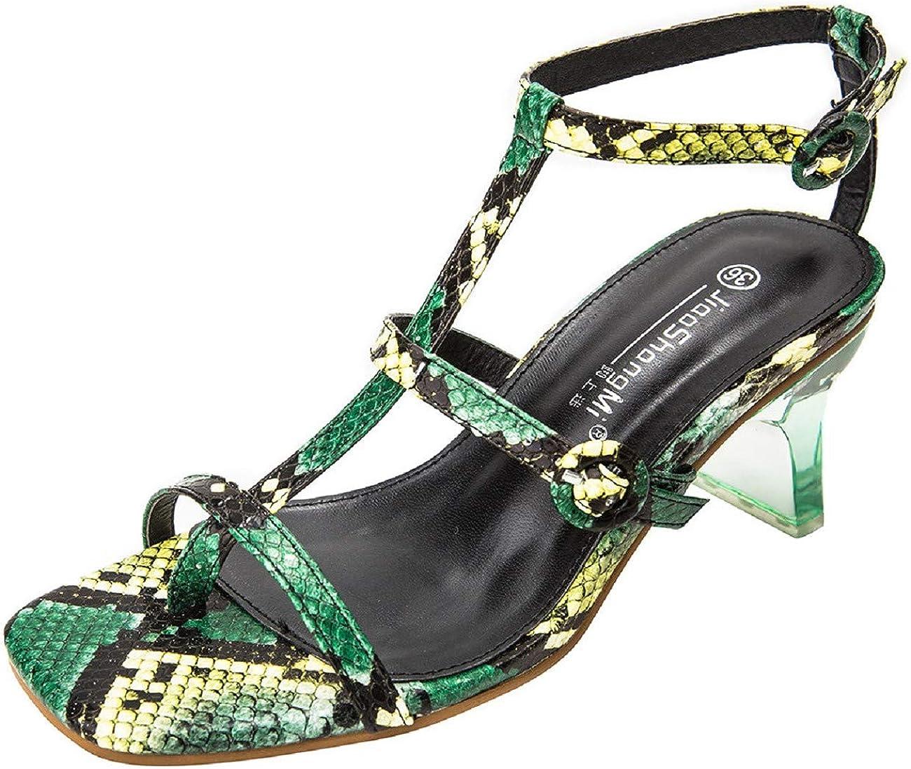 Tsmile Womens Stylish Snake Skin Print Sandals Summer High Heel Ladies Favor Strappy Belt Buckles Thong Sandal