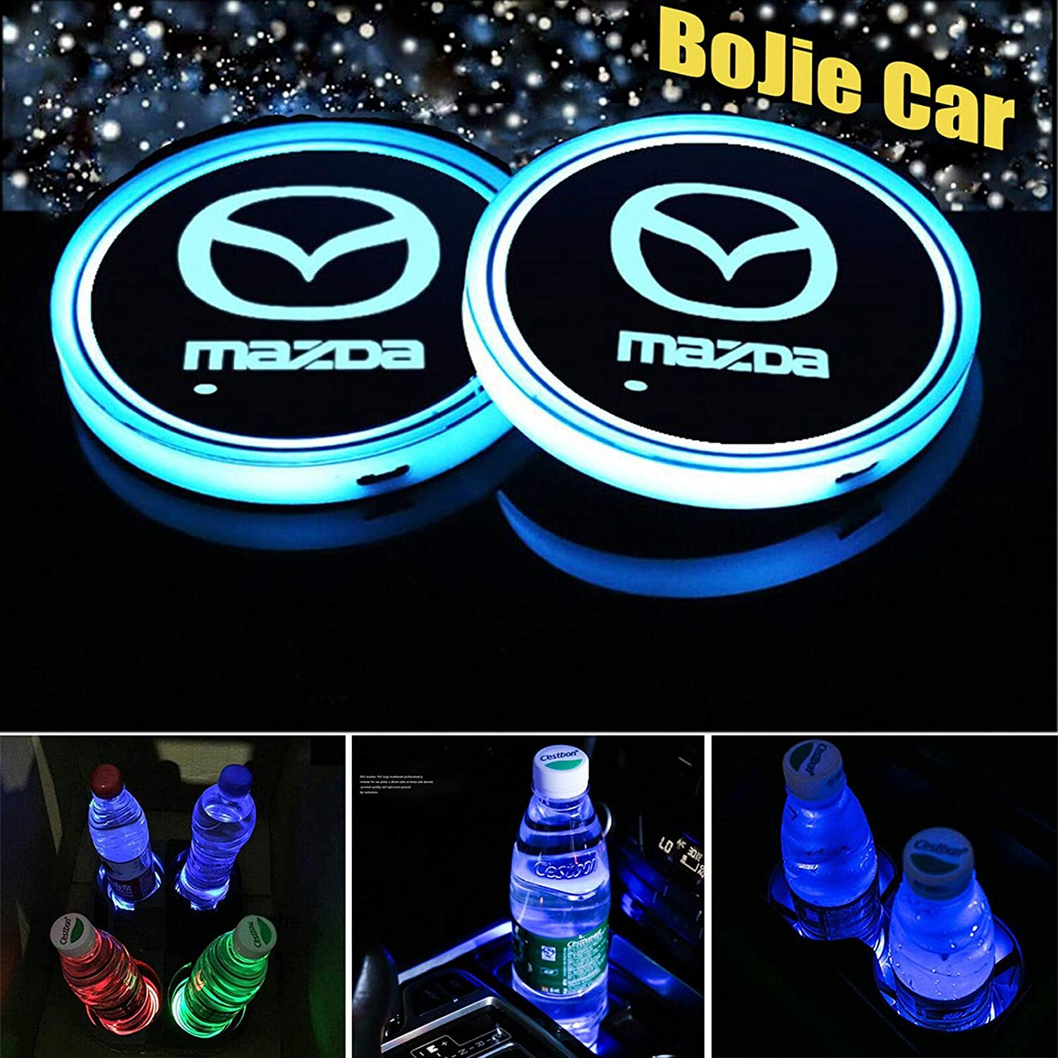 2pcs LED Car Logo Cup Holder Lights for Mazda, 7 Colors Changing USB Charging Mat Luminescent Cup Pad, LED Interior Atmosphere Lamp Decoration Light. (Mazda)