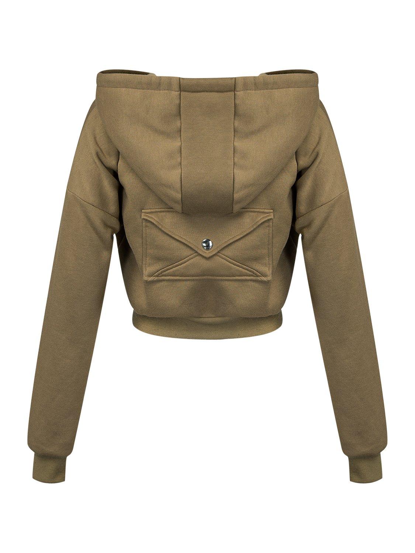 PERSUN Women's Loose Solid Zip Up Sweatshirt Drawstring Fleece Hoodie,Brown,XL by PERSUN (Image #5)