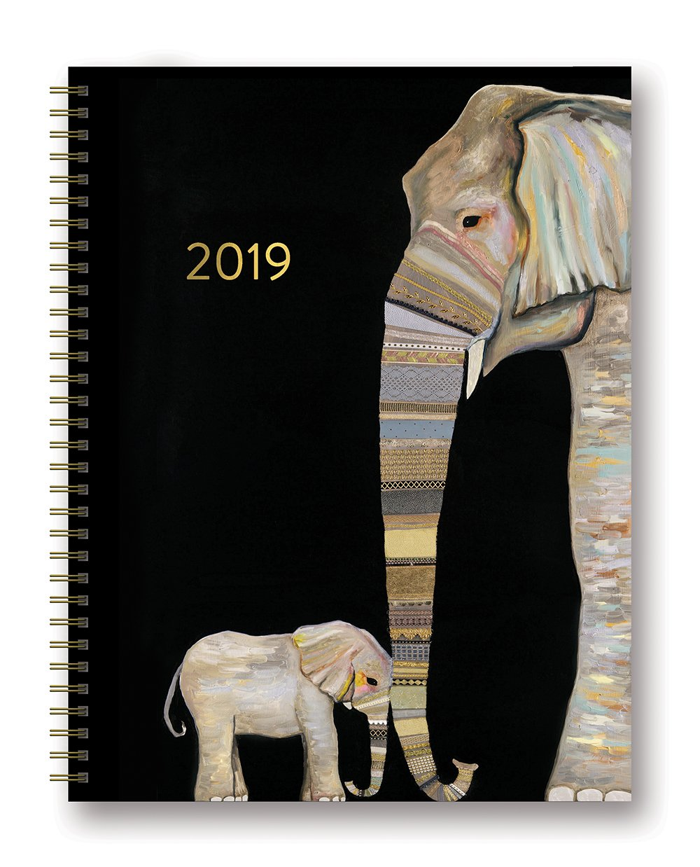 Orange Circle Studio 2019 Extra Large Spiral Planner, August 2018 - December 2019, Elephant Baby and Mama