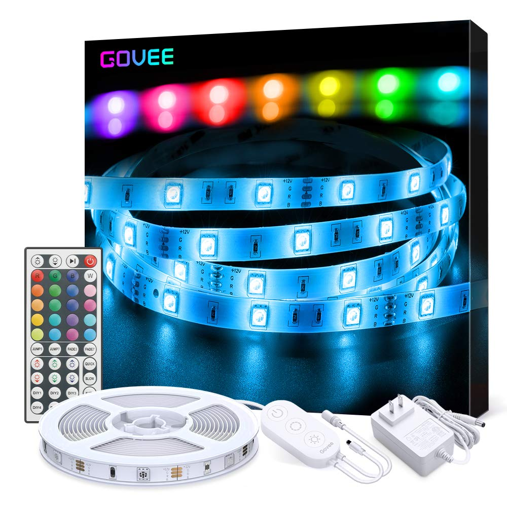 LED Strip Lights, Govee 16.4ft RGB Color Changing Light Strip Kit with Remote and Control Box for Room,Bedroom, TV, Ceiling, Cupboard Decoration, Bright 5050 LEDs, Cutting Design, Easy Installation by Govee