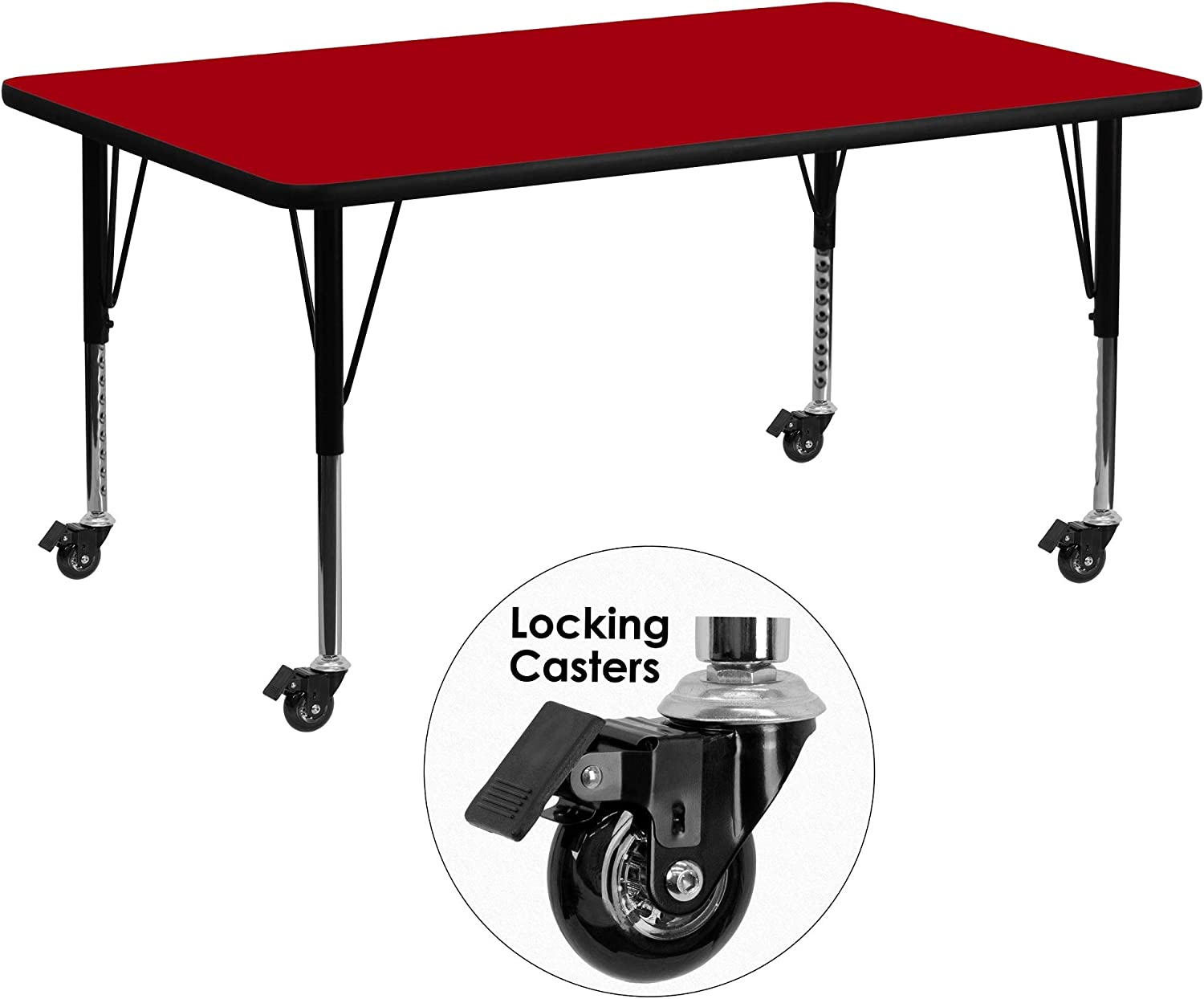 F/&F Furniture Group 72 Red Mobile Activity Table with Height Adjustable Short Legs