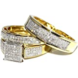 His Her Wedding Rings Set Trio Men Women 10k Yellow Gold 0.6cttw(i2/i3 Clarity, I/j Color)