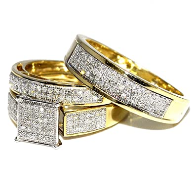 his her wedding rings set trio men women 10k yellow gold 06cttwi2 - Trio Wedding Rings