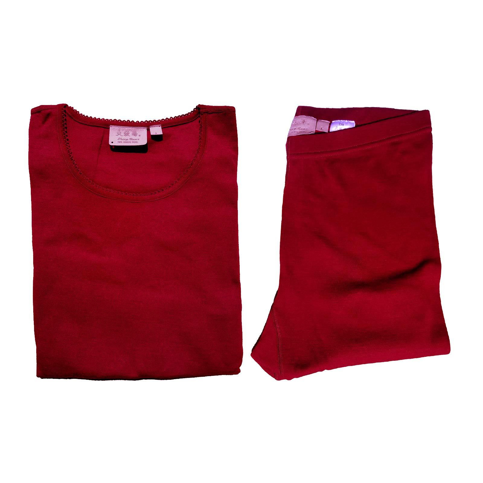 Sheep Run Womens 100% Merino Wool Thermal Underwear Top and Pants (Red, Small) by Sheep Run