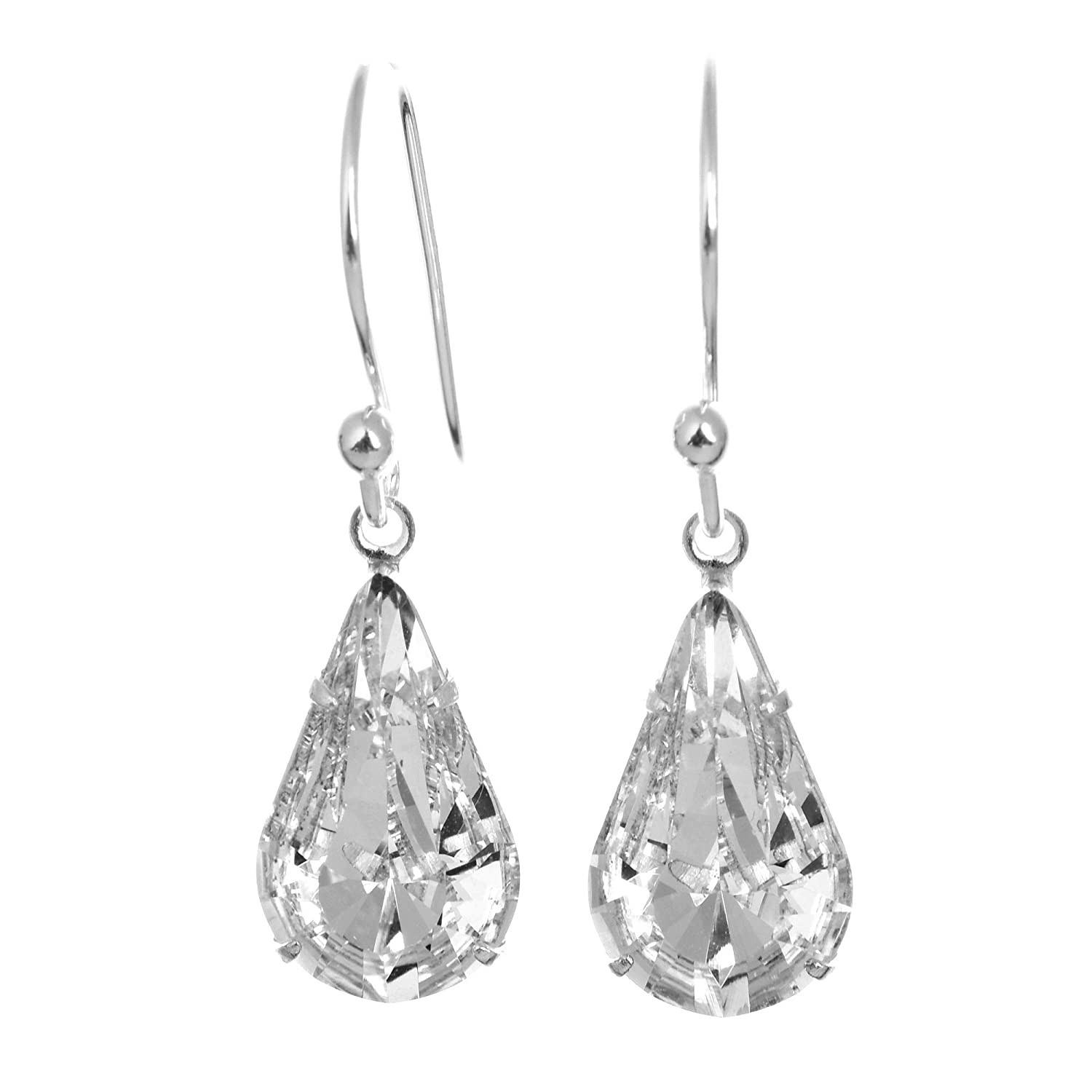 43309efd6 925 Sterling Silver drop earrings for women made with sparkling White  Diamond teardrop crystal from Swarovski®. London jewellery box.