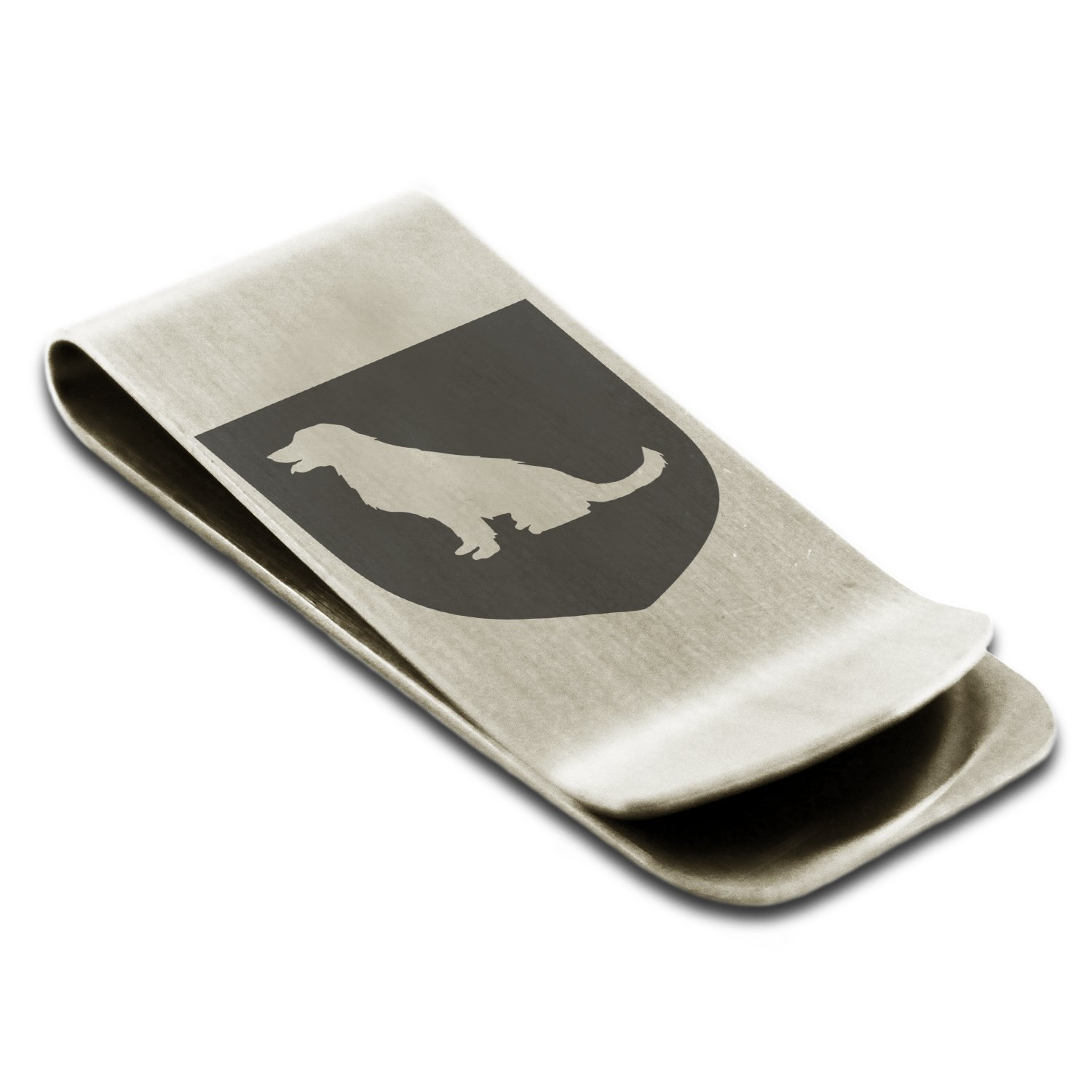 Stainless Steel Dog Loyalty Coat of Arms Shield Symbol Engraved Money Clip Credit Card Holder