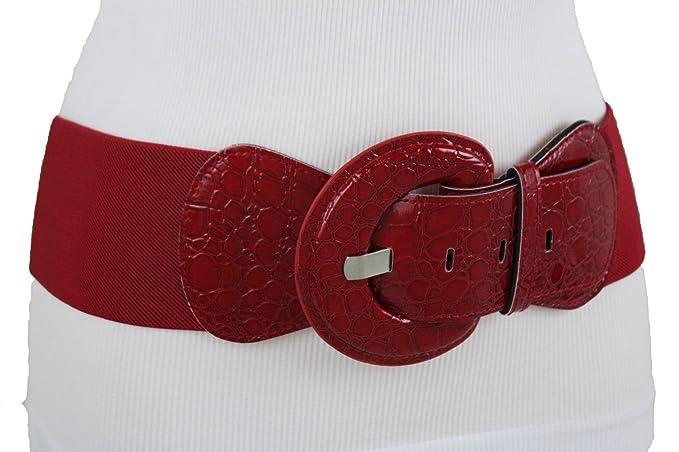 e3076da127e Image Unavailable. Image not available for. Color  TFJ Women Elastic Wide  High Waist Hip Belt Faux Leather Red Plus Size XL XXL XXXL