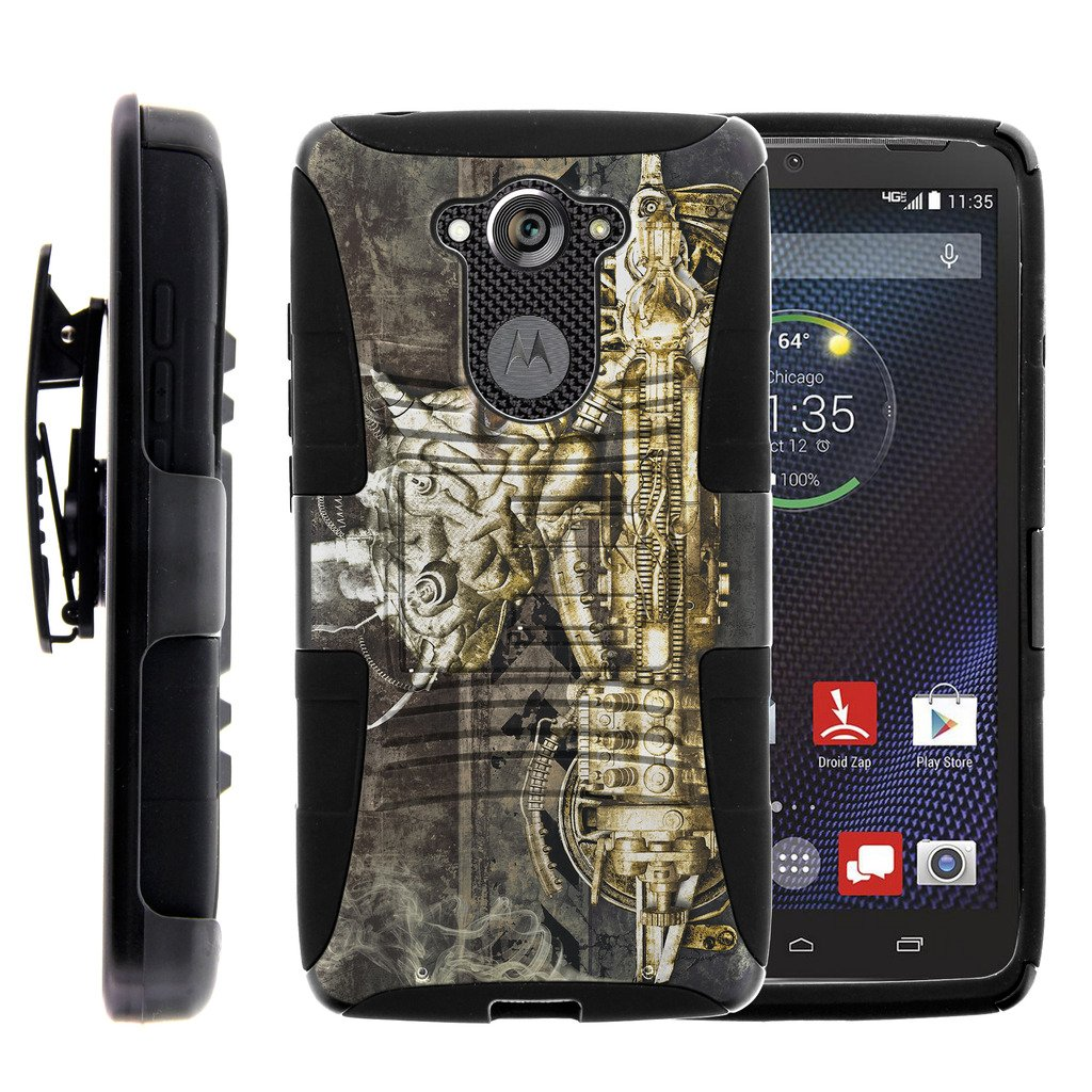 TurtleArmor | Motorola Droid Turbo Case | XT1254 | Moto MAXX Case [Hyper Shock] Armor Solid Hybrid Cover Stand Impact Rubber Holster Belt Clip Robot Android Design - Steampunk Machine