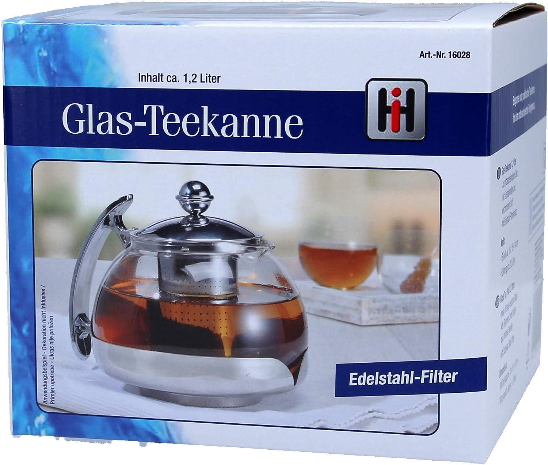1.2L Haushalt International Glass Infusion Teapot Tea Pot Infuser Model 16028