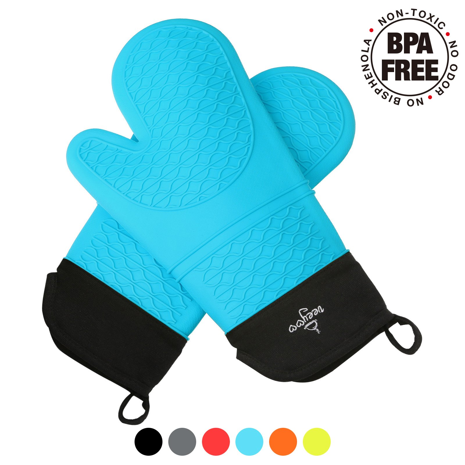VEEYOO Silicone Blue Oven Mitts Extra-long BPA Free Kitchen Grips Gloves with Non-slip Heat Resistant Cooking Pot Holder Grilling BBQ Baking Oven Fireplace Camping Kitchen for Women and Man
