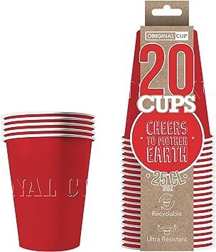 Original Cup - 20 x Vasos Américanos Papels Beer Pong 25cl - Juego para Beber - Rojo: Amazon.es: Juguetes y juegos