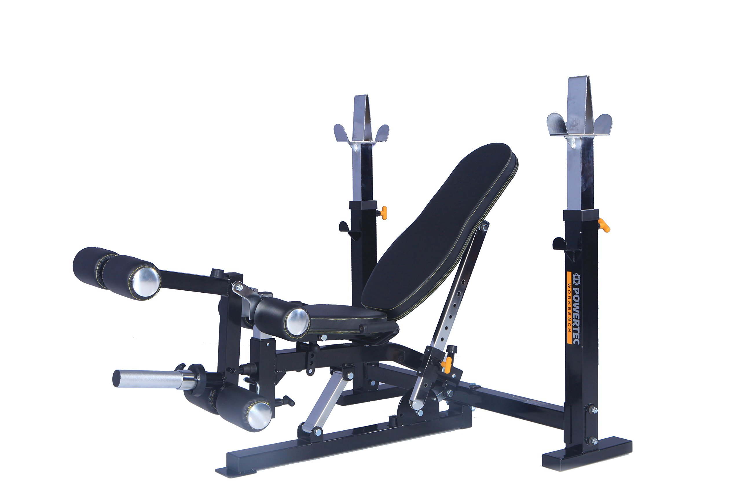 Powertec Fitness Workbench Olympic Bench with Leg Lift Accessory Black