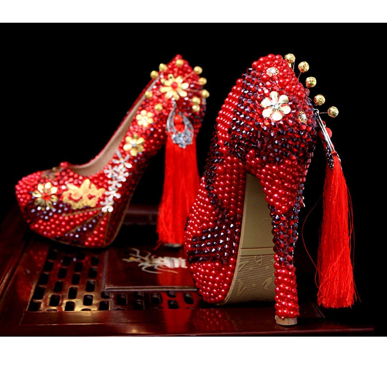 Qiusa Damen-Quasten-Plattform, die spezielle Gelegenheits-Pumpen-Schuhe bördelt (Farbe (Farbe (Farbe   rot-14cm Heel, Größe   7 UK) 7291d4