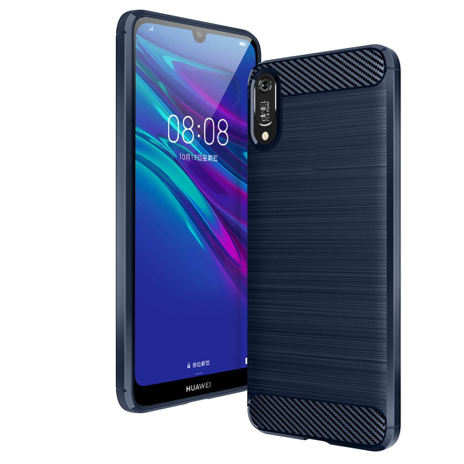 AIFIVE Huawei Y6 2019 Case, Shock Absorption Cover Soft TPU Anti Scratch Carbon Fiber Case for Huawei Y6 2019 (Blue)