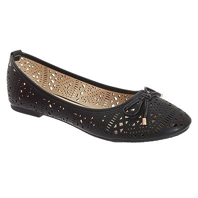 e8e995cadd2f Boulevard Womens Ladies Perforated Bow Ballerina Shoes (3 UK) (Black ...