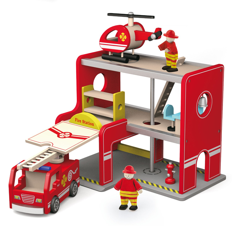 Feuerwehrstation Holz - Viga Toys Feuerwehrhaus