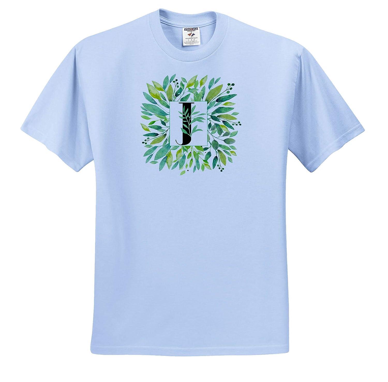 Pretty Image of Watercolor Greenery Leaves Monogram J Monograms 3dRose Anne Marie Baugh Adult T-Shirt XL ts/_318100