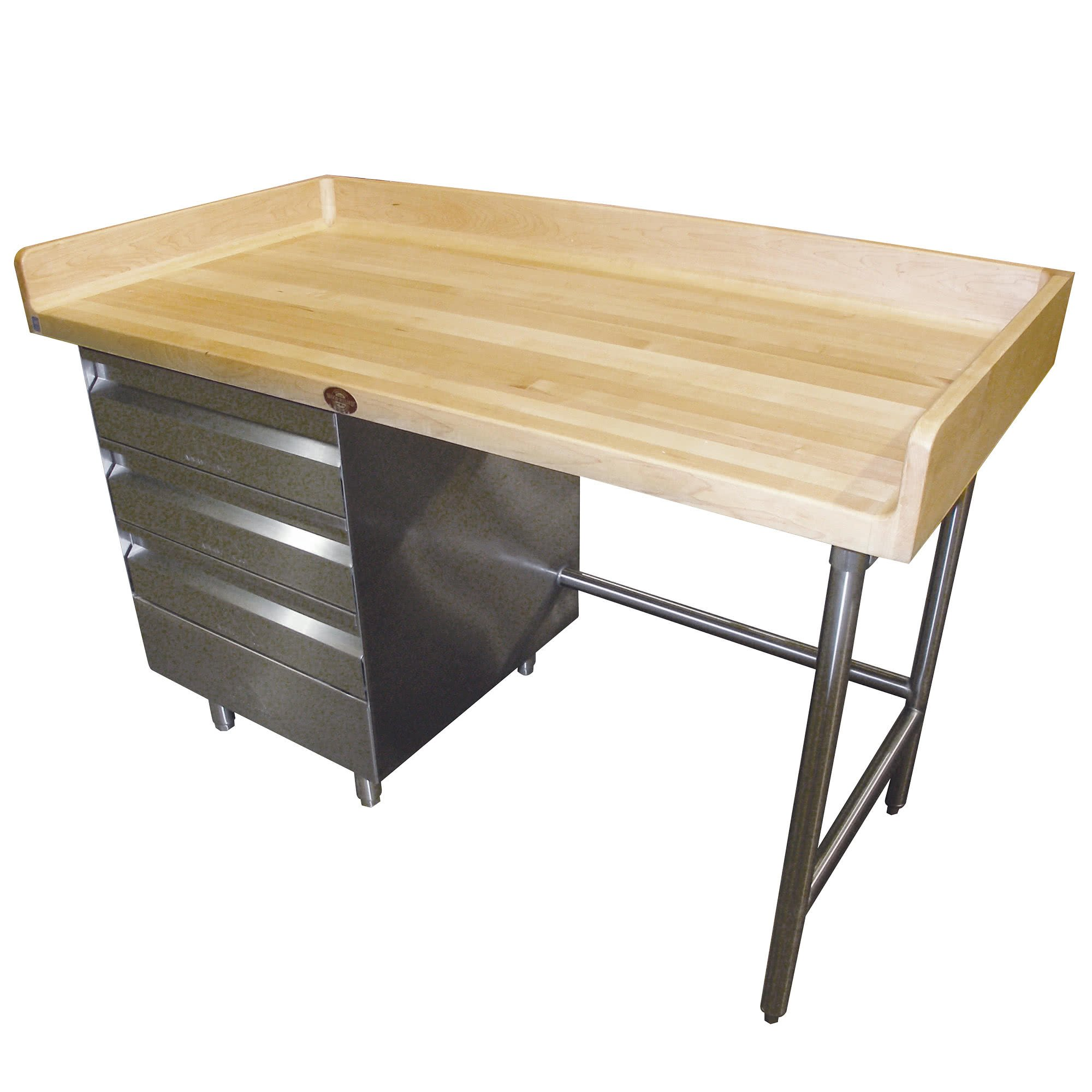 BST-367 Wood Top Baker's Table with Stainless Steel Base and Drawers - 36'' x 84'' By TableTop King