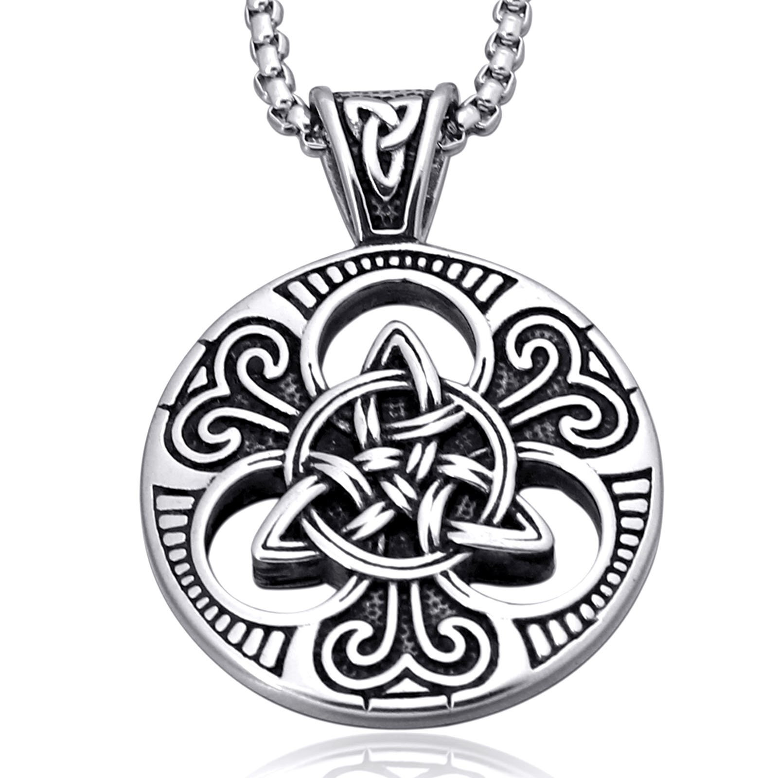 Mens Women's Celtic Knot Magic Double Side Solid Heavy Pendant Necklace Men's Stainless Steel Box Chain Jewelry Length 23.6 inches