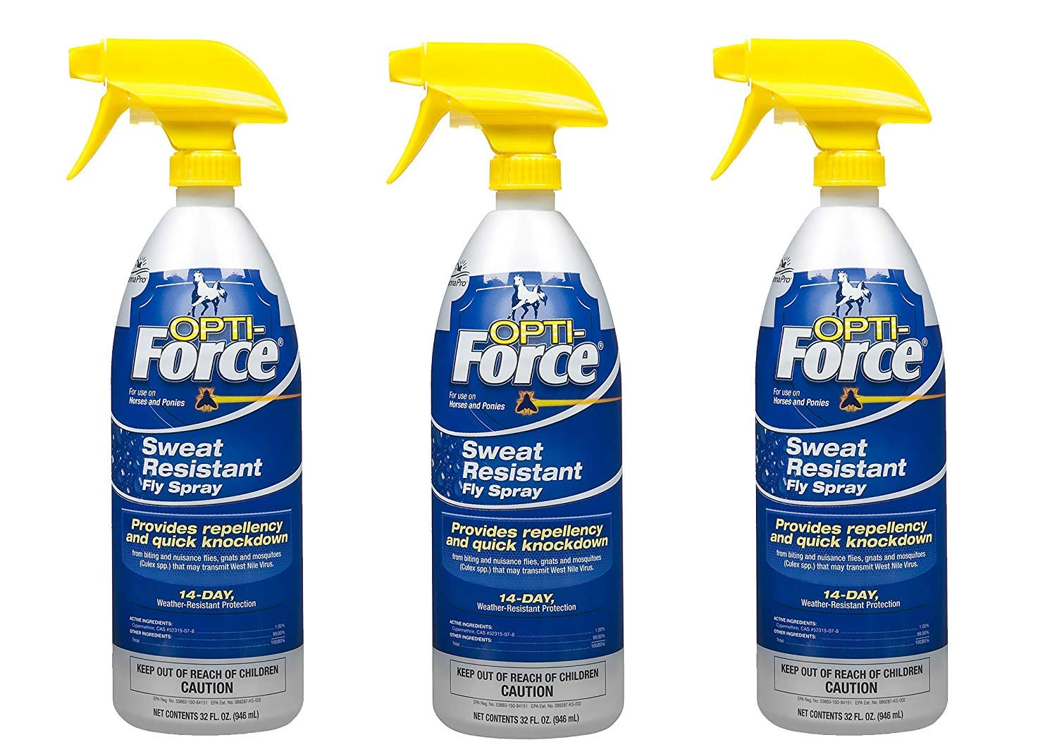 Manna Pro Opti-Force Fly Spray, 32 Ounces (Pack of 3)